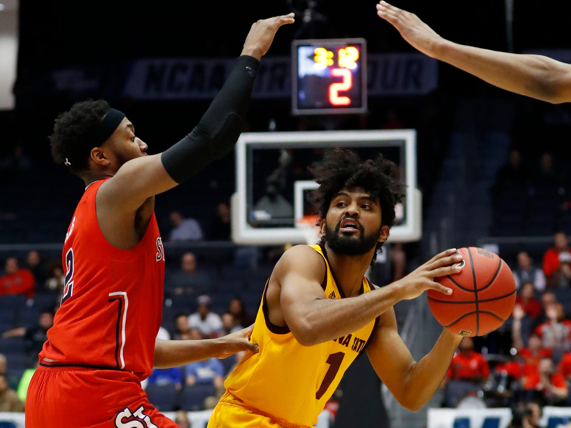 Mar 20, 2019; Dayton, OH, USA; Arizona State Sun Devils guard Remy Martin (1) looks to move the ball defended by St. John's Red Storm guard Shamorie Ponds (2) 2hin the First Four of the 2019 NCAA Tournament at Dayton Arena. Mandatory Credit: Rick Osentoski-USA TODAY Sports