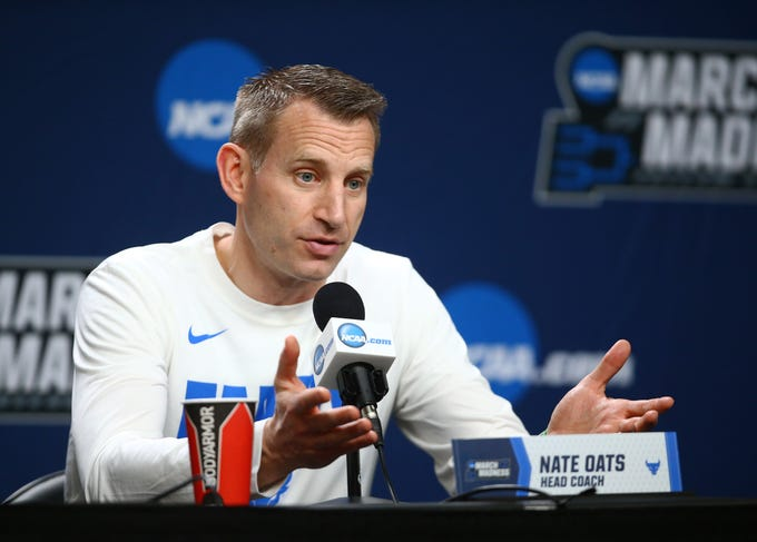 Buffalo Bulls head coach Nate Oats speaks to the media before the first round of the 2019 NCAA Tournament at BOK Center.
