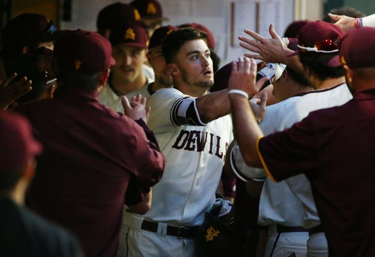 Arizona State Sun Devils Hunter Bishop celebrates after hitting a solo home run against the California Baptist Lancers in the first inning at Phoenix Municipal Stadium on Mar. 20, 2019 in Phoenix, Ariz.