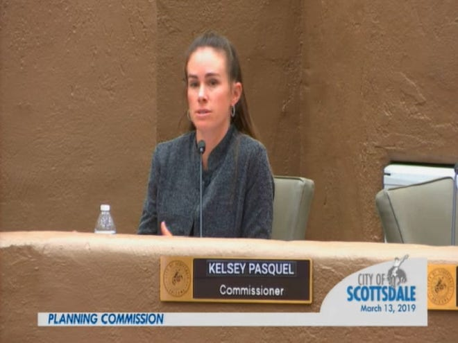 Scottsdale residents are lobbing complaints against Planning Commissioner Kelsey Pasquel after she made disparaging comments against the Papago Plaza redevelopment in south Scottsdale.