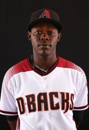 Jazz Chisholm of the Arizona Diamondbacks poses for a photo during the annual Spring Training Photo Day on Feb. 20 at Salt River Fields in Scottsdale, Ariz.