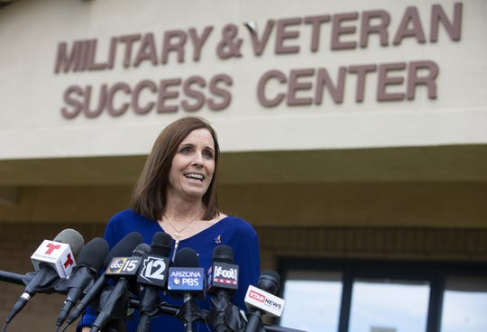 U.S. Sen. Martha McSally speaks to the press before a town hall with commanders and a meet with junior airmen at Luke Air Force Base in Glendale on March 21, 2019.
