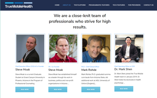 Steve Moak Jr., CEO and co-founder of True Mobile Health, and other team members as seen on the company's website.