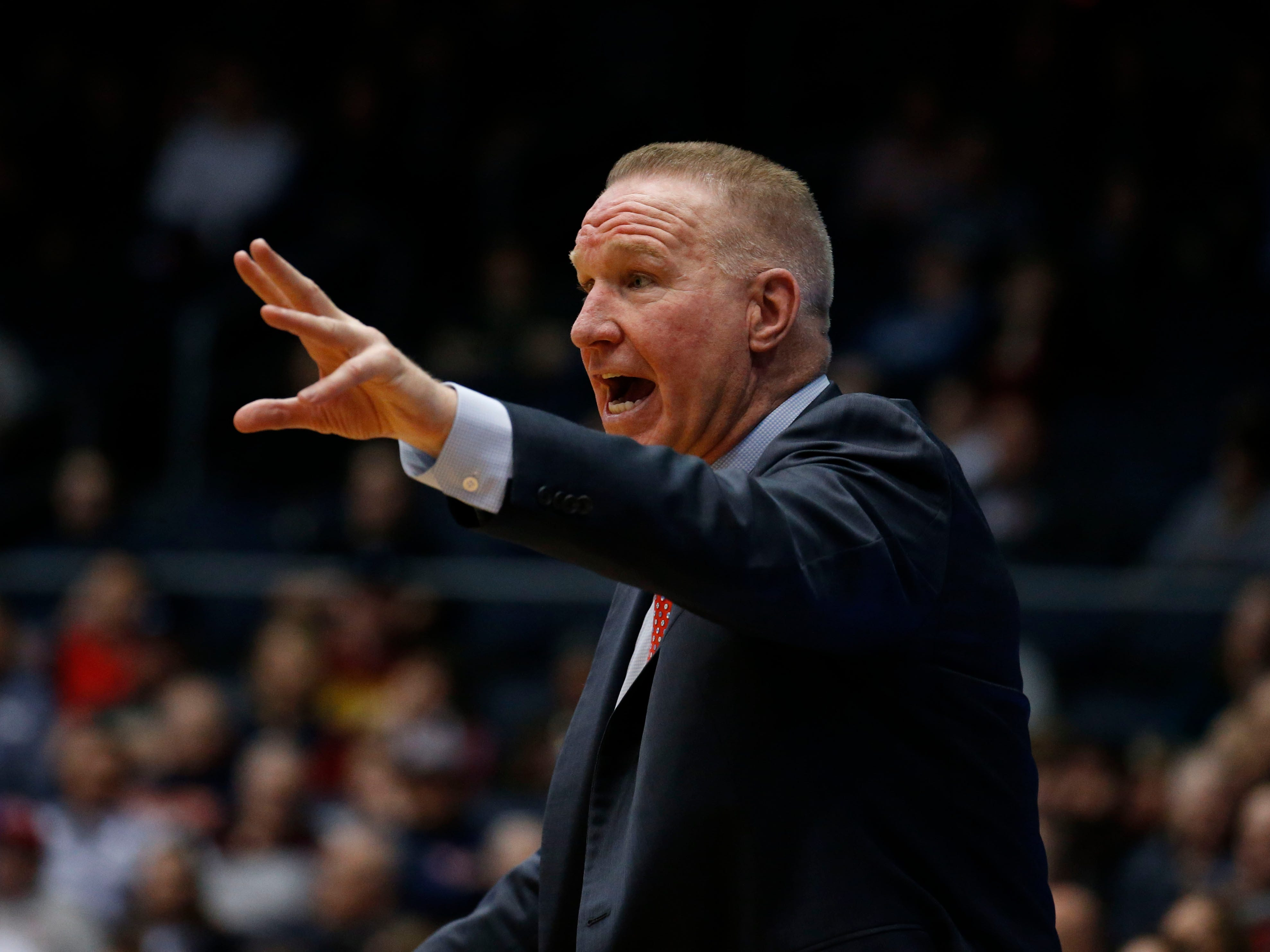 Mar 20, 2019; Dayton, OH, USA; St. John's Red Storm head coach Chris Mullin reacts to a play in the second half against the Arizona State Sun Devils in the First Four of the 2019 NCAA Tournament at Dayton Arena. Mandatory Credit: Brian Spurlock-USA TODAY Sports