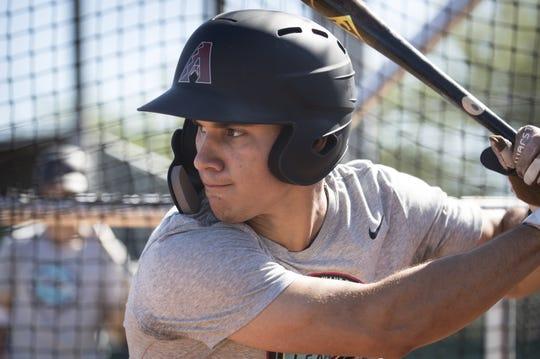 Alek Thomas (CF) during fall Instructional League batting practice, October 9, 2018, at Salt River Fields at Talking Stick, Scottsdale.