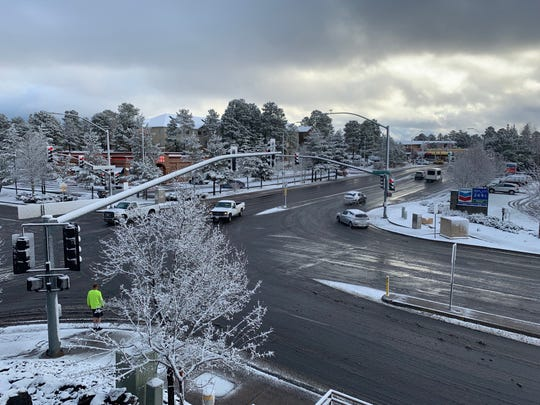 Snow fell overnight in Flagstaff on March 21, 2019.