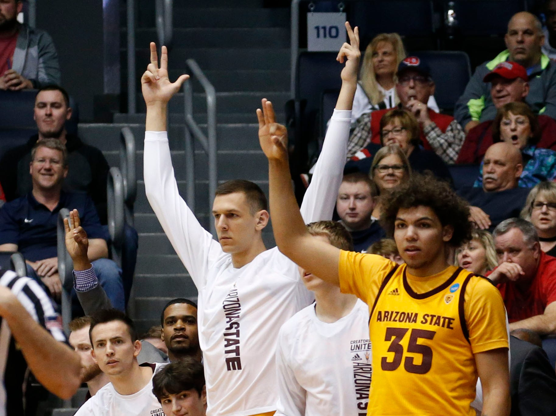 Mar 20, 2019; Dayton, OH, USA; Arizona State Sun Devils bench reacts to play against the St. John's Red Storm in the First Four of the 2019 NCAA Tournament at Dayton Arena. Mandatory Credit: Brian Spurlock-USA TODAY Sports