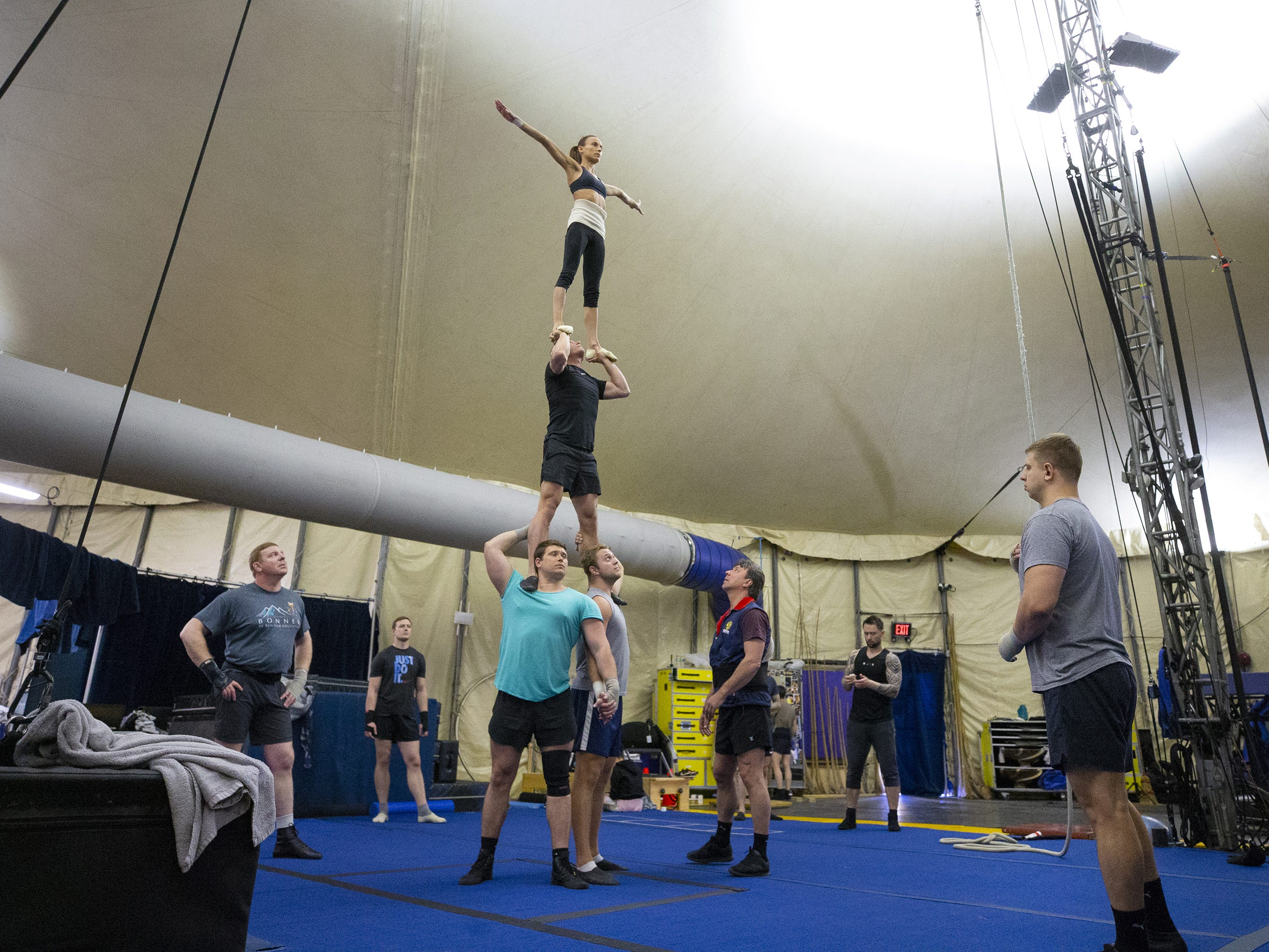 Performers train for the Cirque du Soleil's big-top show, Amaluna, at State Farm Stadium in Glendale.