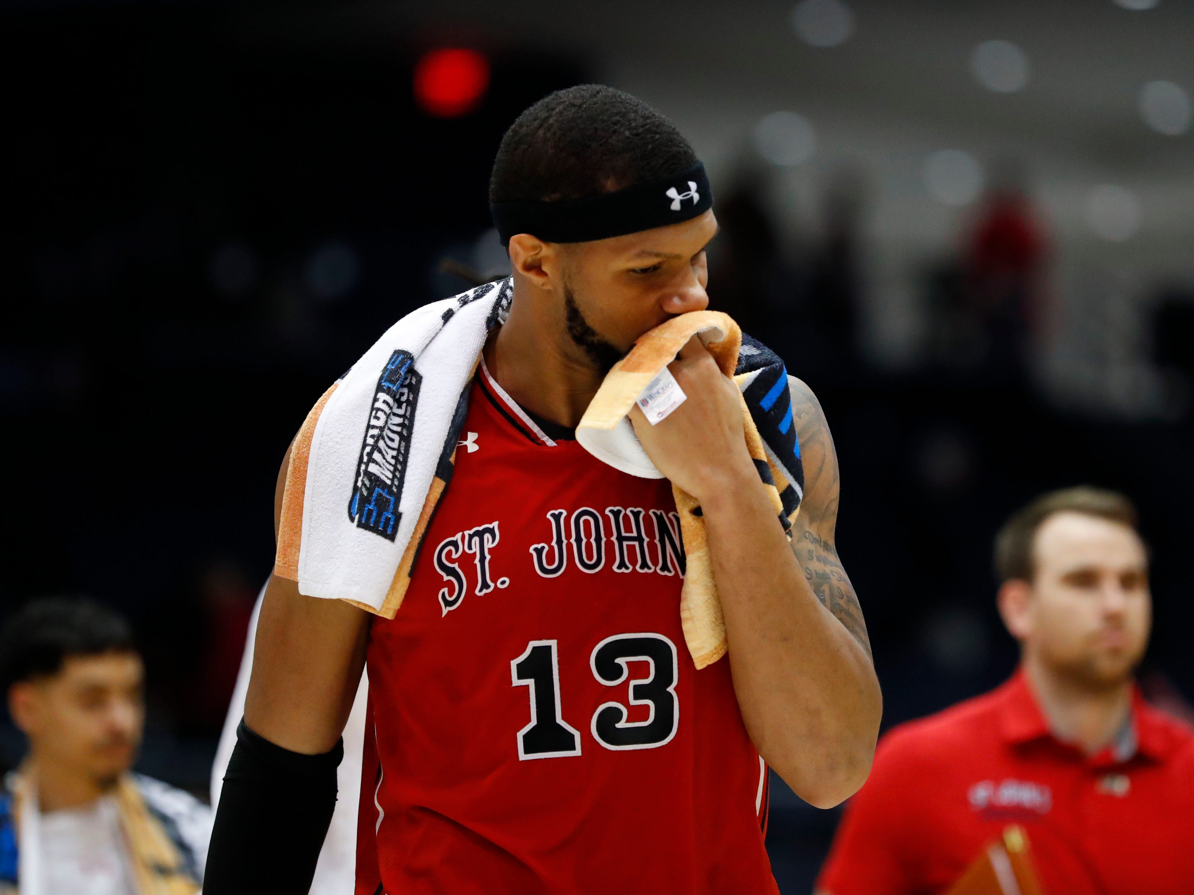 Mar 20, 2019; Dayton, OH, USA; St. John's Red Storm forward Marvin Clark II (13) walks off the court after being defeated by Arizona State Sun Devils in the First Four of the 2019 NCAA Tournament at Dayton Arena. Mandatory Credit: Rick Osentoski-USA TODAY Sports