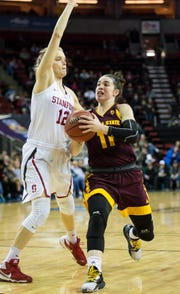 Mar 3, 2018; Seattle, WA, USA; Arizona State Sun Devils guard Robbi Ryan (11) drives to the basket against Stanford Cardinal guard Brittany McPhee (12) during the first half during the semifinals of the PAC-12 Women's Basketball Tournament at KeyArena. Mandatory Credit: Troy Wayrynen-USA TODAY Sports