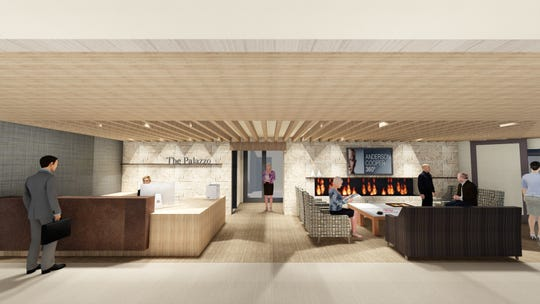 The sleek lobby will feature a stylish Tuscan-themed entrance replete with a 9-foot fireplace, a large-screen TV, a coffee bar and comfortable seating areas.