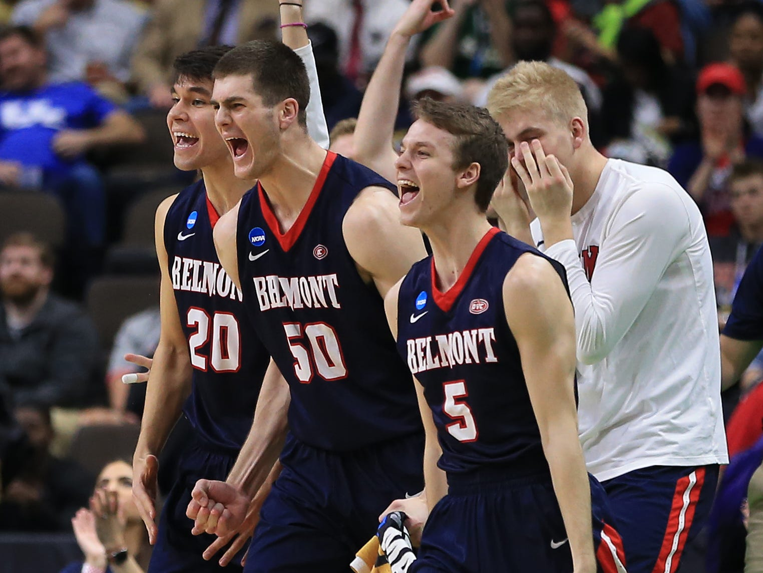 Mar 21, 2019; Jacksonville, FL, USA; The Belmont Bruins bench reacts during the first half against the Maryland Terrapins in the first round of the 2019 NCAA Tournament at Jacksonville Veterans Memorial Arena. Mandatory Credit: Matt Stamey-USA TODAY Sports