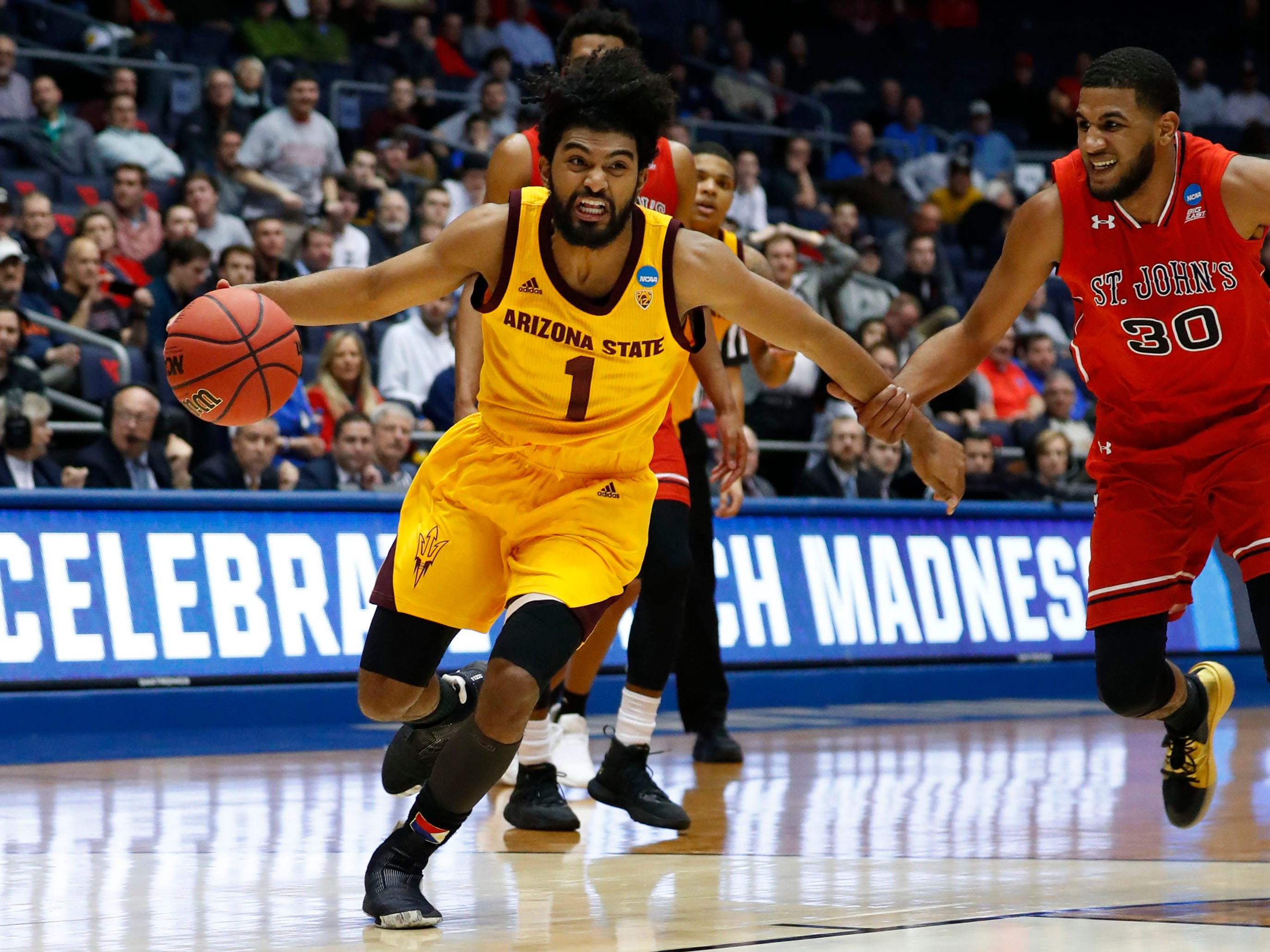 Mar 20, 2019; Dayton, OH, USA; Arizona State Sun Devils guard Remy Martin (1) drives the ball down the court in the second half against the St. John's Red Storm in the First Four of the 2019 NCAA Tournament at Dayton Arena. Mandatory Credit: Rick Osentoski-USA TODAY Sports