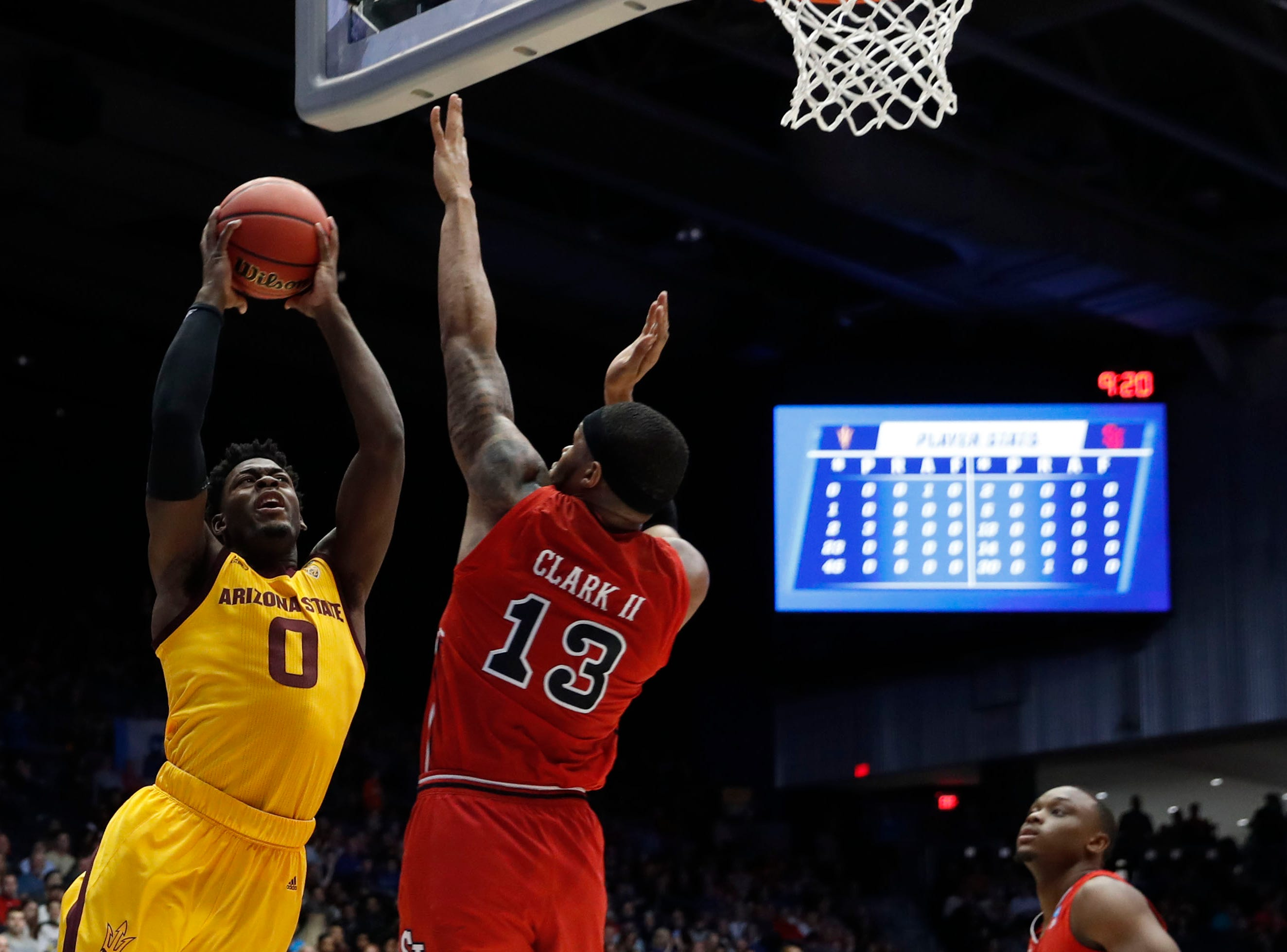 Mar 20, 2019; Dayton, OH, USA; Arizona State Sun Devils guard Luguentz Dort (0) goes to the basket defended by St. John's Red Storm guard LJ Figueroa (30) in the first half in the First Four of the 2019 NCAA Tournament at Dayton Arena. Mandatory Credit: Brian Spurlock -USA TODAY Sports