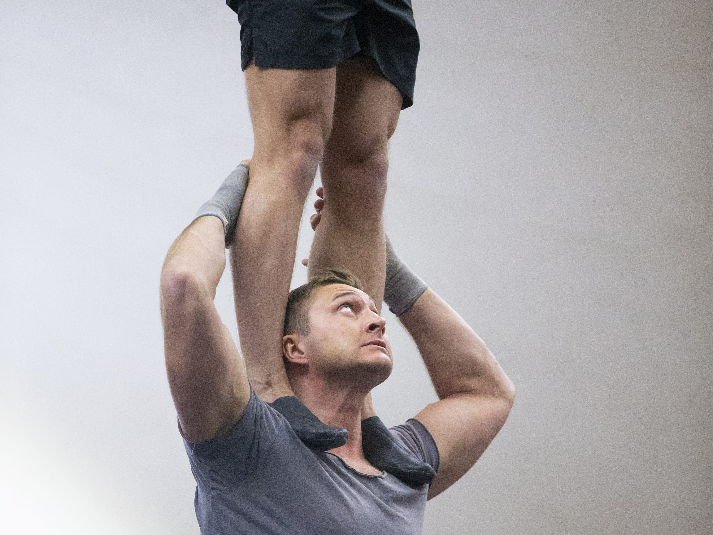 Valeriy Chernyy trains for his performance with Cirque du Soleil's big-top show, Amaluna, at State Farm Stadium in Glendale.