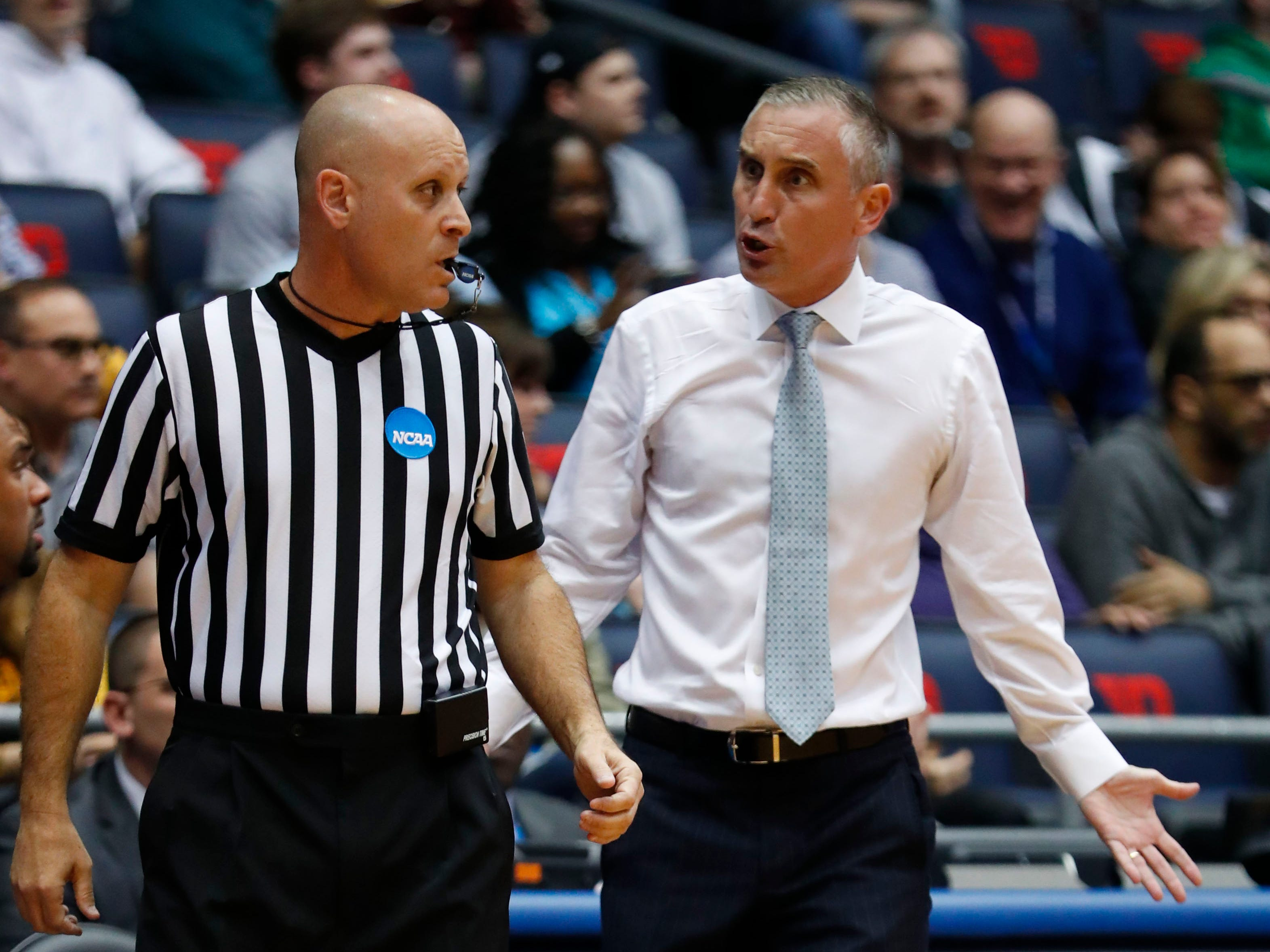 Mar 20, 2019; Dayton, OH, USA; Arizona State Sun Devils head coach Bobby Hurley talks to an official in the first half against the St. John's Red Storm in the First Four of the 2019 NCAA Tournament at Dayton Arena. Mandatory Credit: Rick Osentoski-USA TODAY Sports