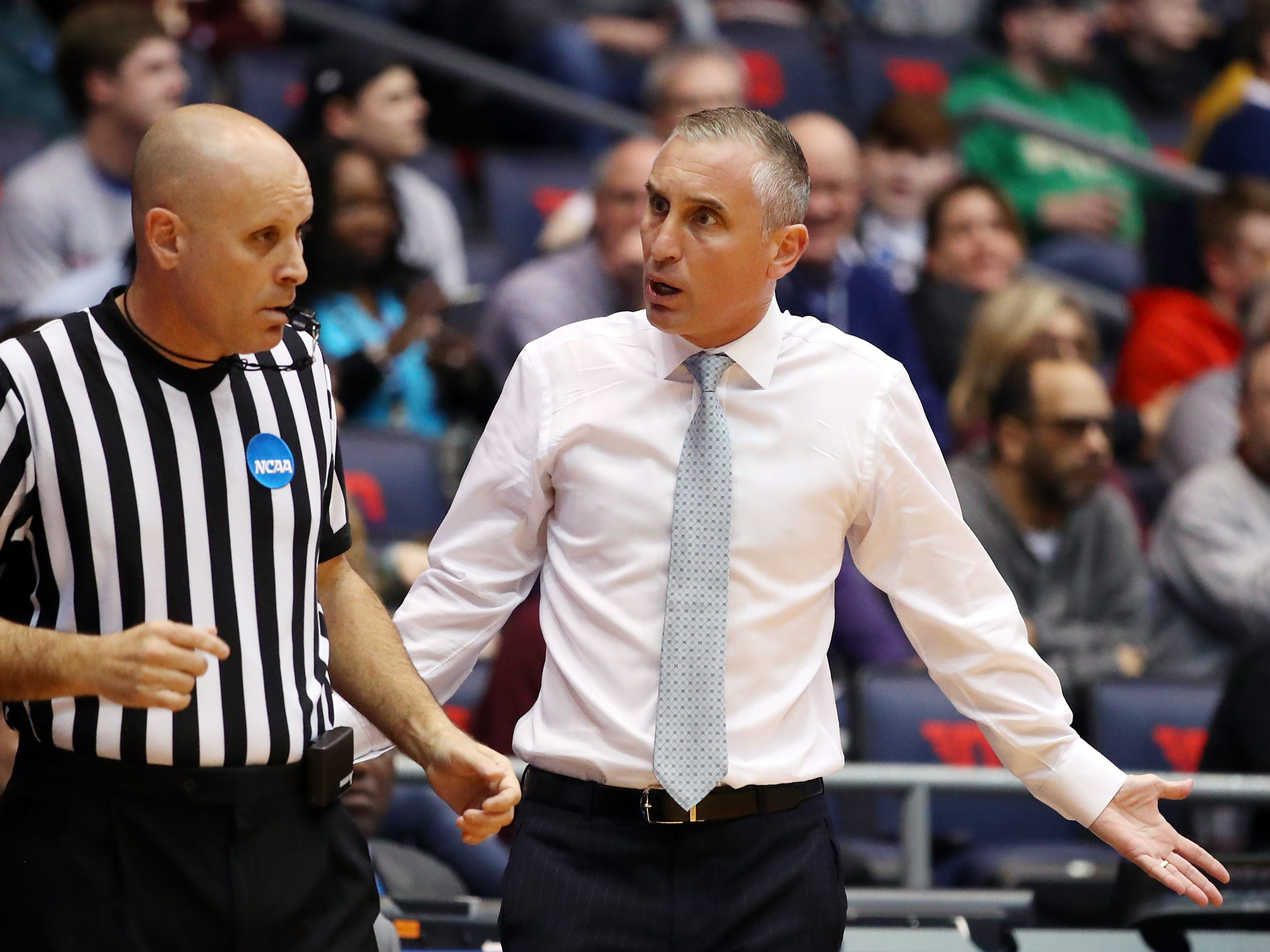Head coach Bobby Hurley of the Arizona State Sun Devils reacts to a referee during the first half against the St. John's Red Storm in the First Four of the 2019 NCAA Men's Basketball Tournament at UD Arena on March 20, 2019, in Dayton, Ohio.