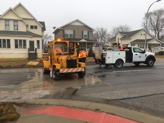 Leaking water services closed Port Huron's Griswold Street between 7th and 8th streets to close on March 21, 2018.