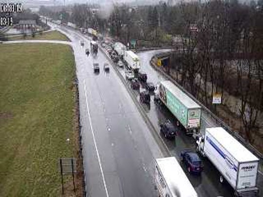This PennDOT traffic camera shows traffic backed up on I-83 southbound near Exit 19.  State police said they responded shortly after 2 p.m.