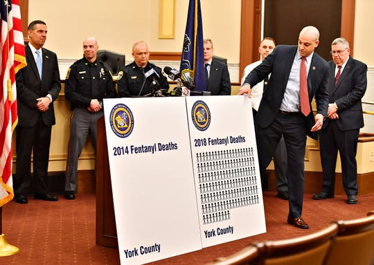 York County District Attorney Dave Sunday sets up his visual aids before addressing media regarding the Blocking Deadly Fentanyl Imports Act at the York County Administrative Building in York City, Thursday, March 21, 2019. Statistics show that fentanyl was one of the factors causing death in 129 of the 144 overdose deaths that occurred in York County in 2018. Dawn J. Sagert photo