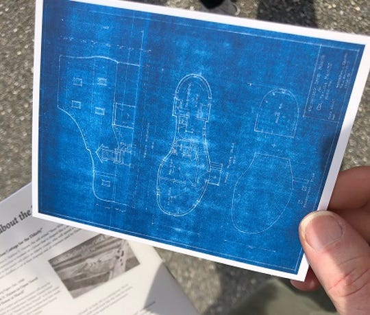 Postcard print of Haines Shoe House blueprints, which Richard Raesh, of Manchester Township, helped former co-owner Melanie Schmuck track down before she died suddenly Feb. 28. (Photo by: Lindsay C. VanAsdalan)