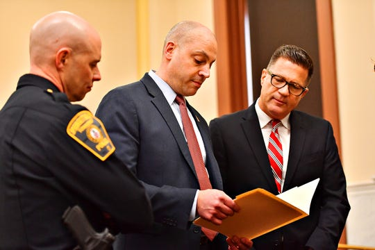 From left, Springettsbury Township Police Chief Dan Stump, York County District Attorney Dave Sunday and Sen. Mike Regan (R-PA) prior to Sen. Pat Toomey's arrival at the York County Administrative Building in York City, Thursday, March 21, 2019. Dawn J. Sagert photo