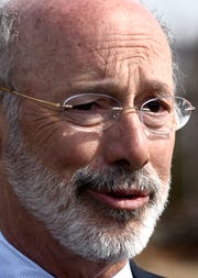 """Gov. Tom Wolf speaks at the York Fairgrounds Wednesday, March 20, 2019, as part of his tour across the commonwealth to stump for """"Restore Pennsylvania,"""" a $4.5 billion infrastructure plan. Bill Kalina photo"""