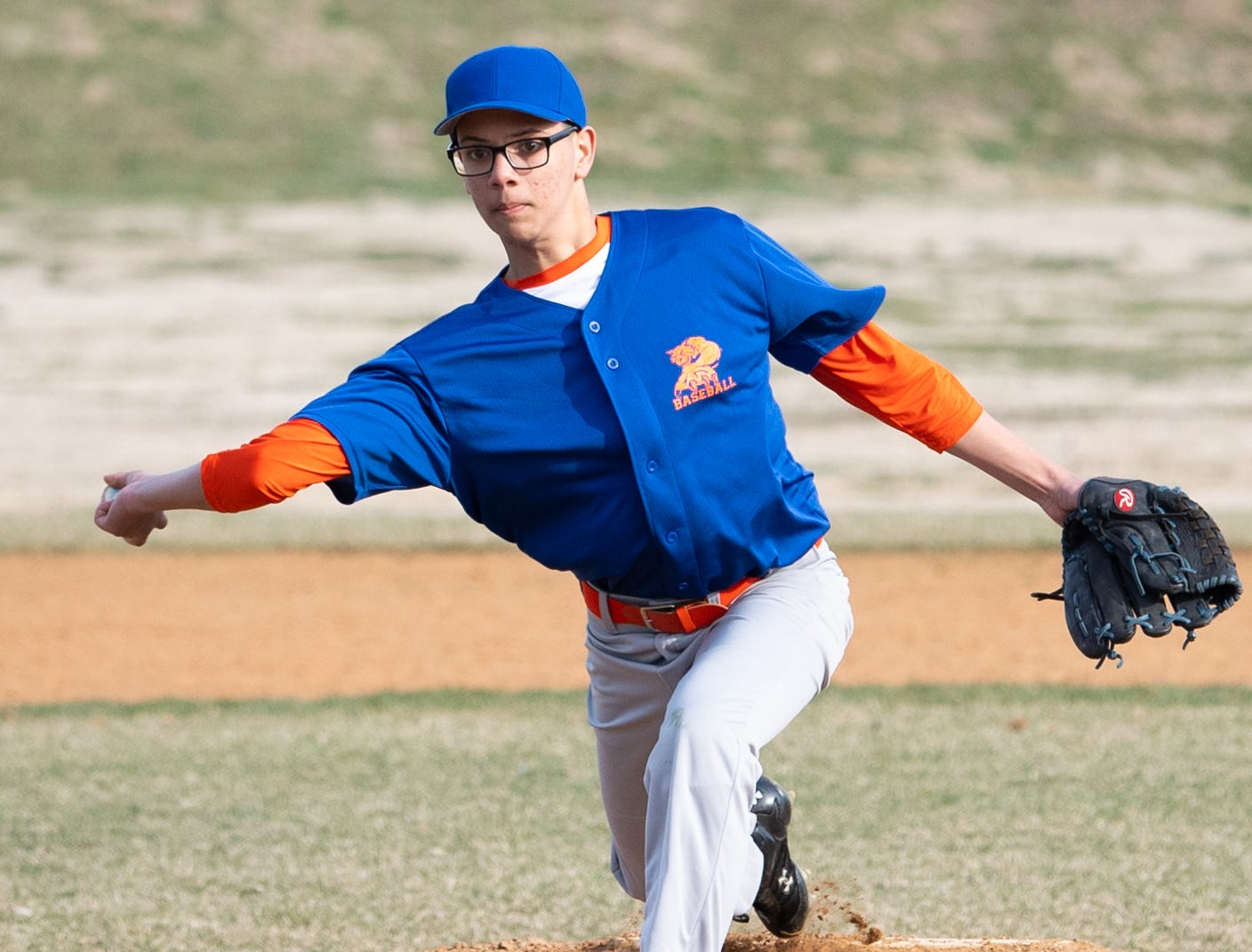 Luis Villa (10) looks to throw a curve ball during York High's scrimmage against Steel High, March 20, 2019 at Small Athletic Field.