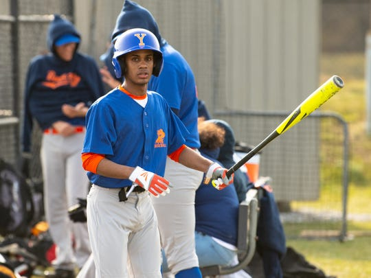 Wellintong Polanco (1) is next up to bat during York High's scrimmage against Steel High, March 20, 2019 at Small Athletic Field.