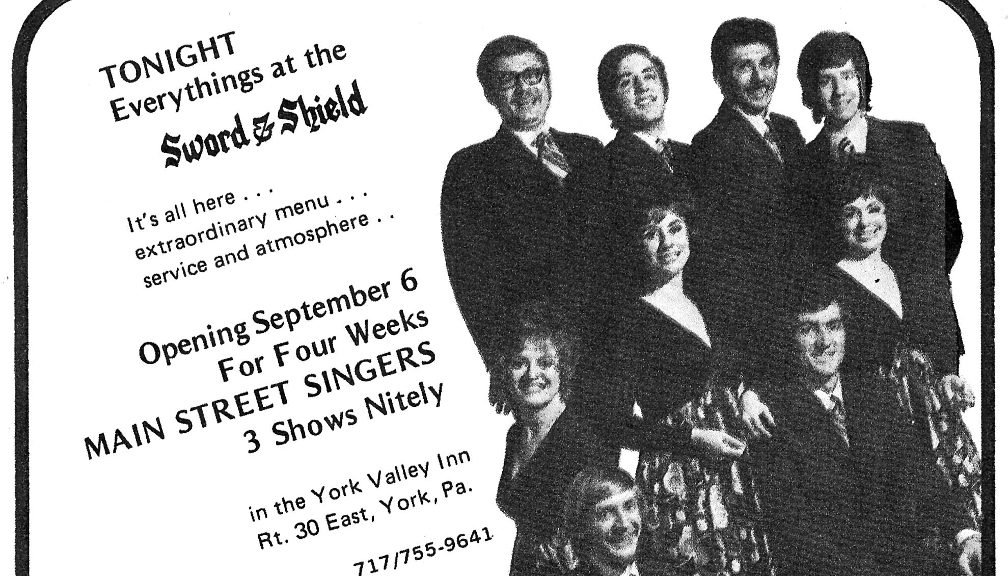 """This advertisement from former York restaurant the Sword & Shield at the York Valley Inn was from a 1971 edition of """"This Month"""" magazine and was submitted by Regina (Tufarolo) Altland"""