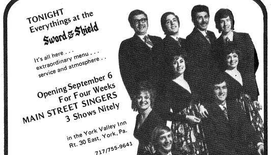"This advertisement from former York restaurant the Sword & Shield at the York Valley Inn was from a 1971 edition of ""This Month"" magazine and was submitted by Regina (Tufarolo) Altland"