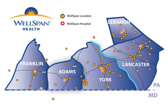 This is a map of every WellSpan Health medical facility and hospital throughout the region. This includes urgent and primary care facilities.