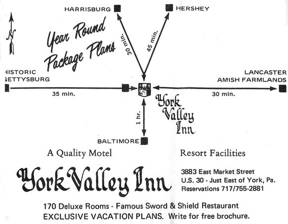 """This advertisement from the former York Valley Inn was from a 1971 edition of """"This Month"""" magazine and was submitted by Regina (Tufarolo) Altland."""