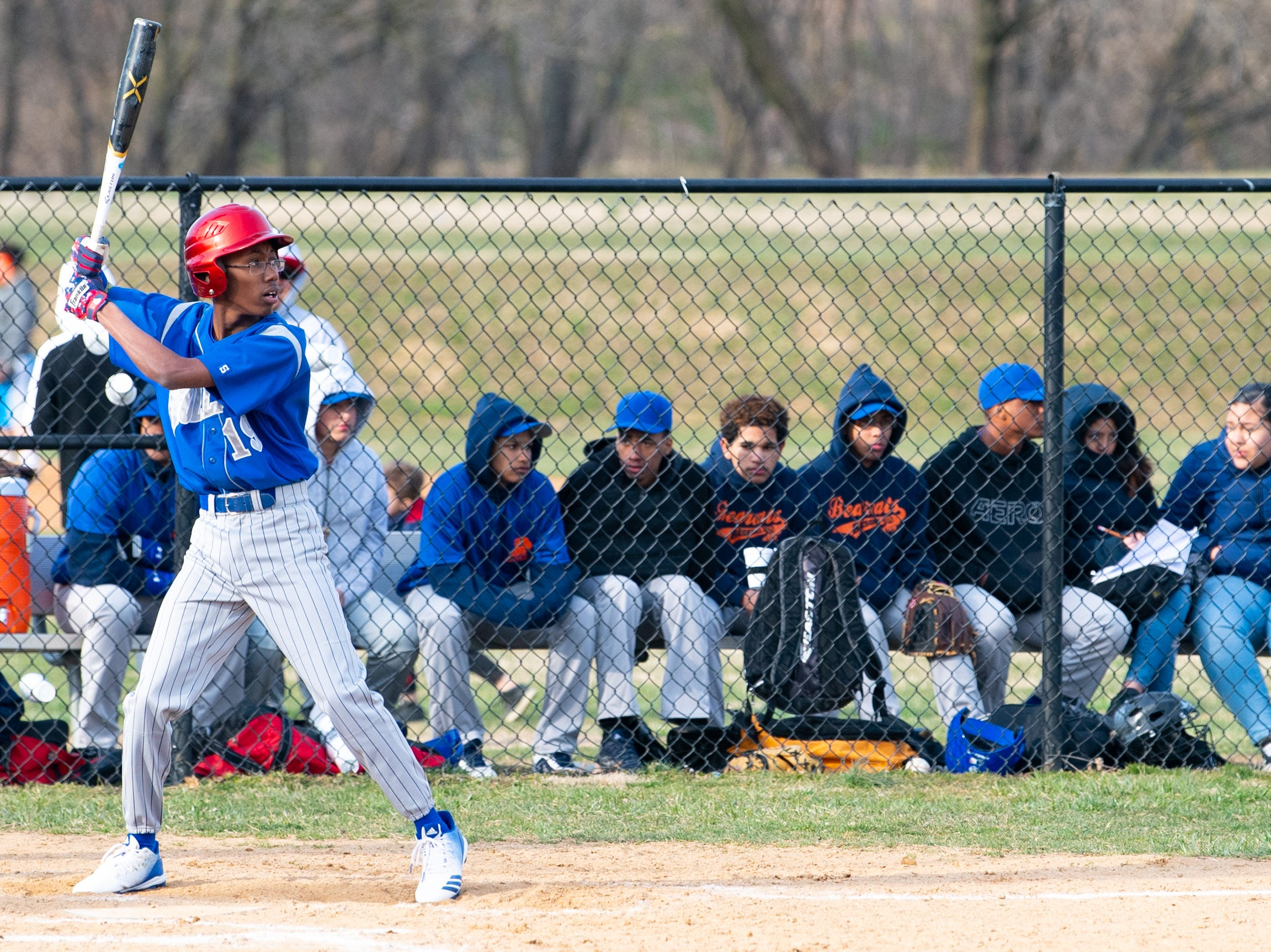 York High's bench watches Steel High at bat during the scrimmage, March 20, 2019 at Small Athletic Field.