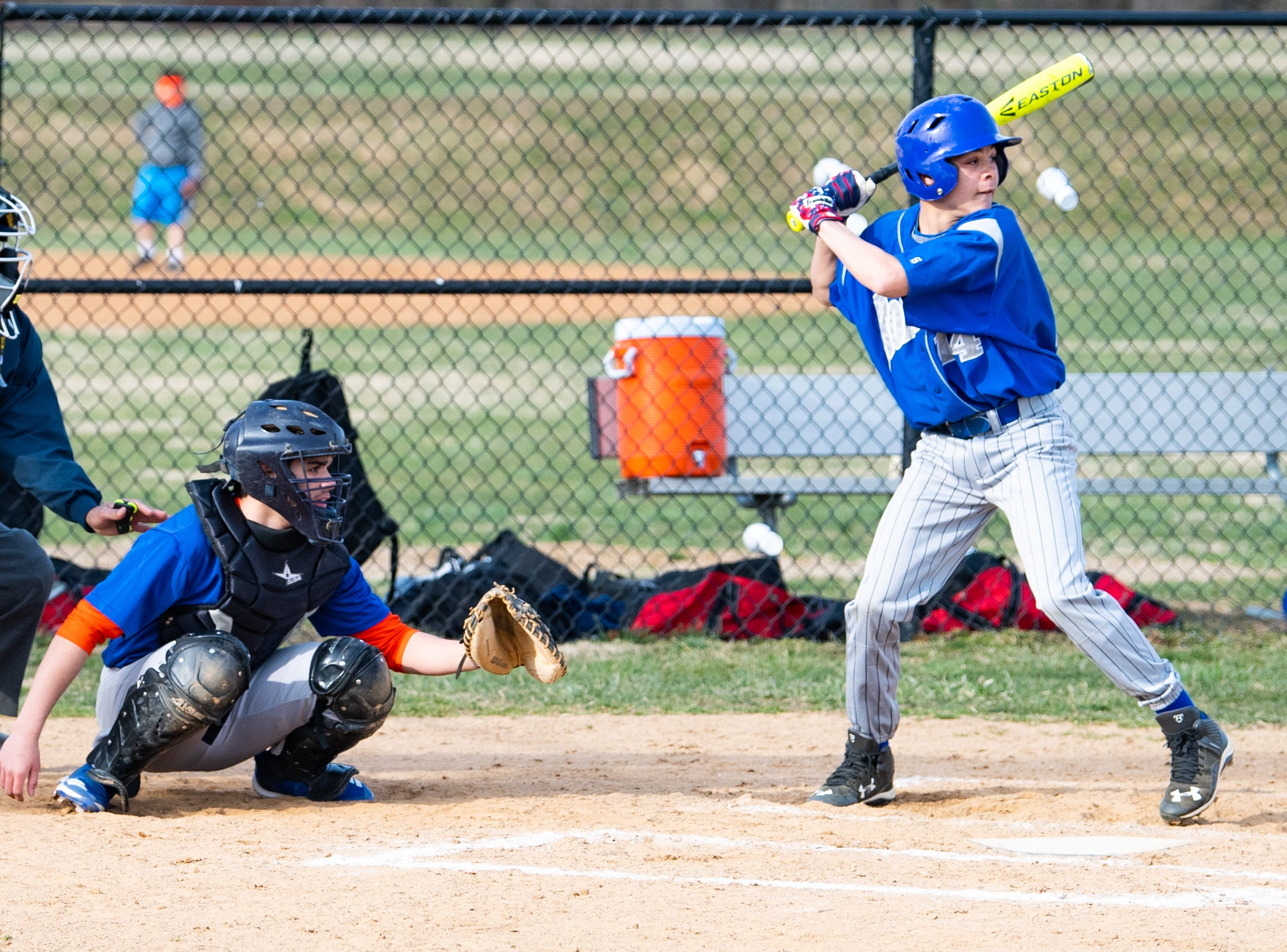 Catcher Bryan Soto (13) sets up to receive the pitch during York High's scrimmage against Steel High, March 20, 2019 at Small Athletic Field.