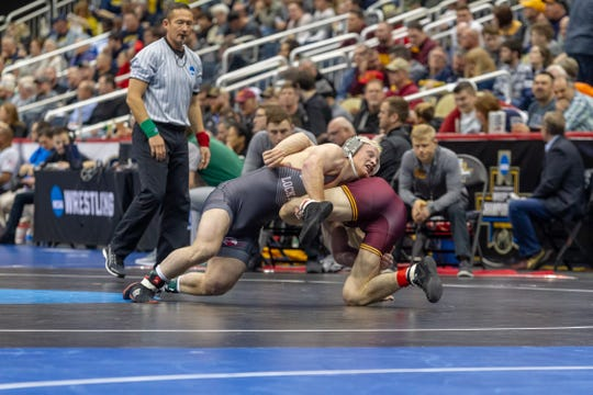 Chance Marsteller  improved to 23-2 with a dominating open-round victory over Minnesota's Carson Brolsma at the NCAA Championships in Pittsburgh.