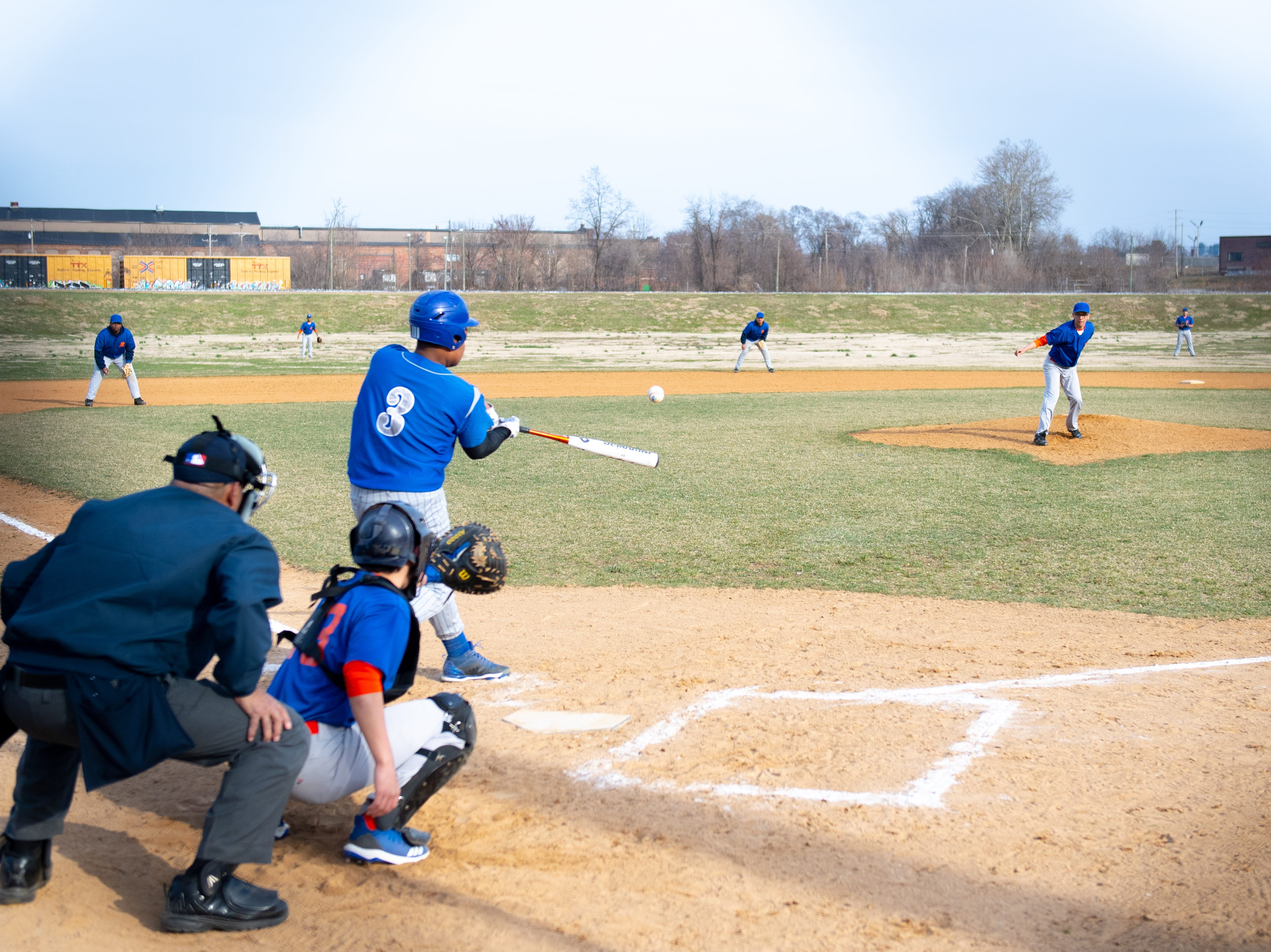 Steel High connects with the ball during their scrimmage against York High, March 20, 2019 at Small Athletic Field.