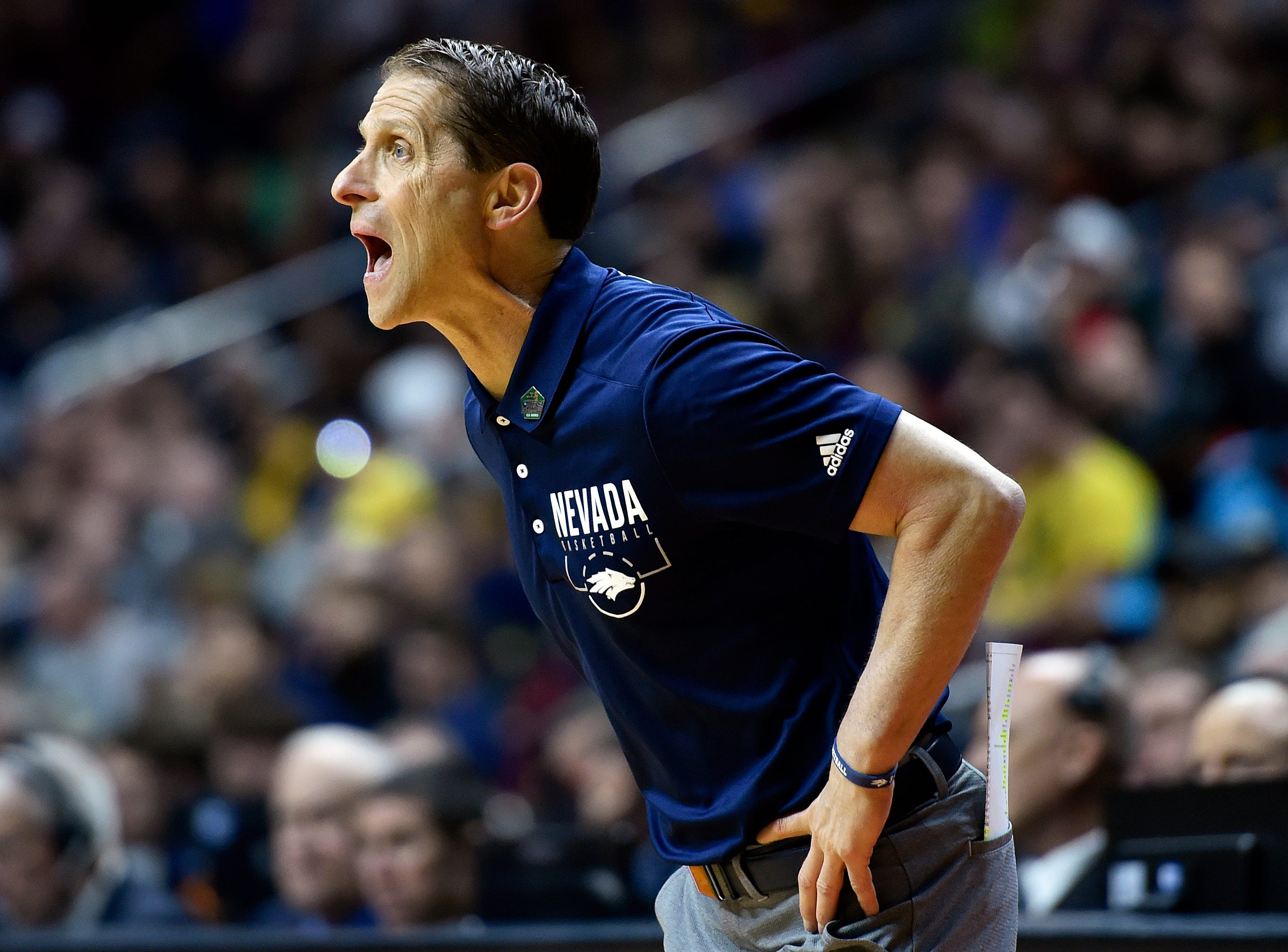 Mar 21, 2019; Des Moines, IA, United States; Nevada Wolf Pack head coach Eric Musselman during the first half against the Florida Gators in the first round of the 2019 NCAA Tournament at Wells Fargo Arena. Mandatory Credit: Jeffrey Becker-USA TODAY Sports