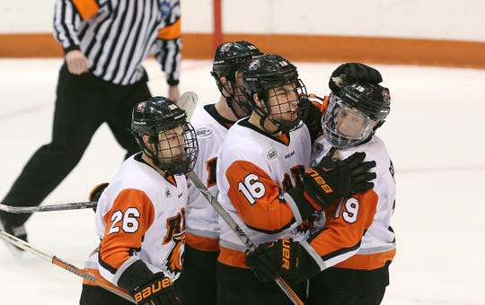 Erik Brown (16)  led RIT in scoring with 18 goals this season.