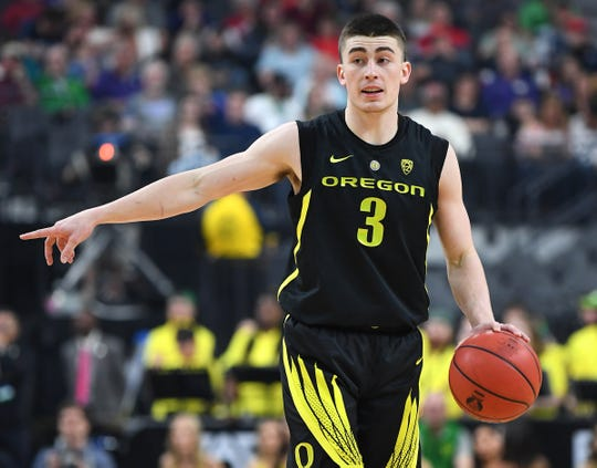 Mar 16, 2019; Las Vegas, NV, United States; Oregon Ducks guard Payton Pritchard (3) calls a play during the first half against the Washington Huskies in the Pac-12 conference tournament final at T-Mobile Arena. Mandatory Credit: Stephen R. Sylvanie-USA TODAY Sports