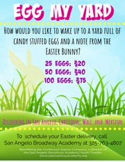 """This flyer details """"Egg My Yard,"""" an Easter themed fundraiser for Continuum Dance Company. This company is a competitive youth dance team and part of San Angelo Broadway Academy."""