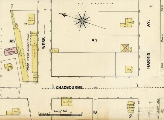 The second location of First Baptist Church in San Angelo was an inside lot directly behind the present-day location of the Roosevelt Hotel. On this Sanborn Fire Map from 1885, the church is rendered in pink, indicating it is brick.