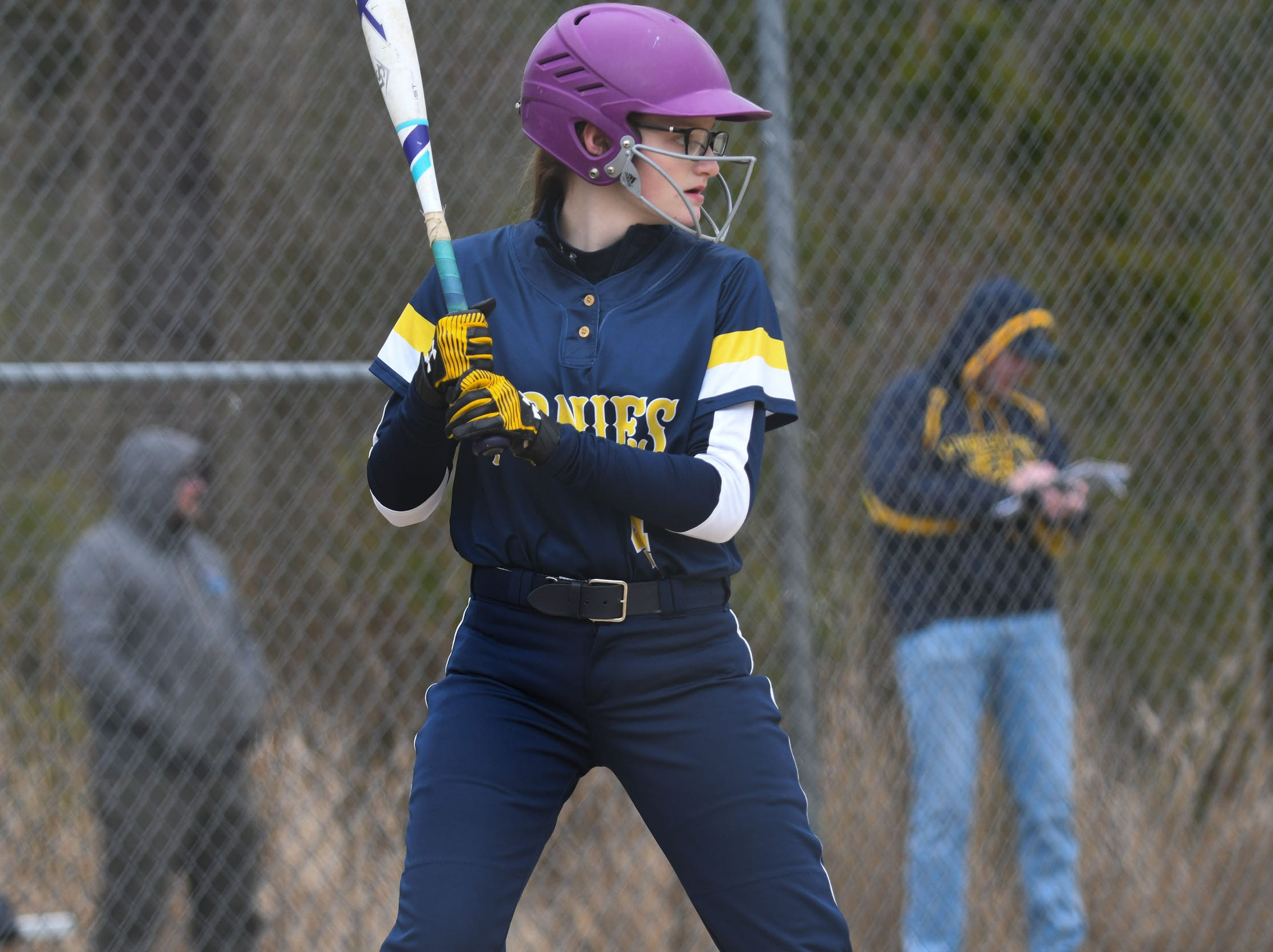Chincoteague's Kelsey Malone at bat against Holly Grove on Wednesday, March 20, 2019 in Westover, Md.