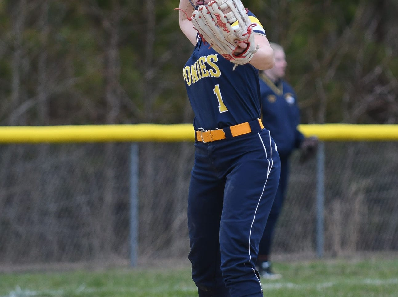 Chincoteague's Emma Jackson with the throw from 3rd base against Holly Grove on Wednesday, March 20, 2019 in Westover, Md.