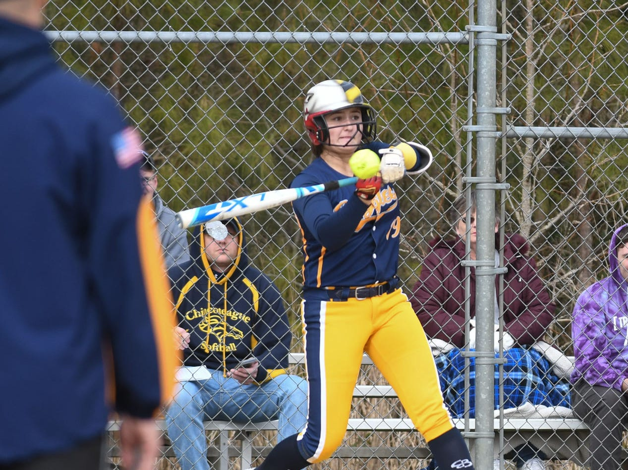 Holly Grove's Jenna Laird at bat against Chincoteague on Wednesday, March 20, 2019 in Westover, Md.