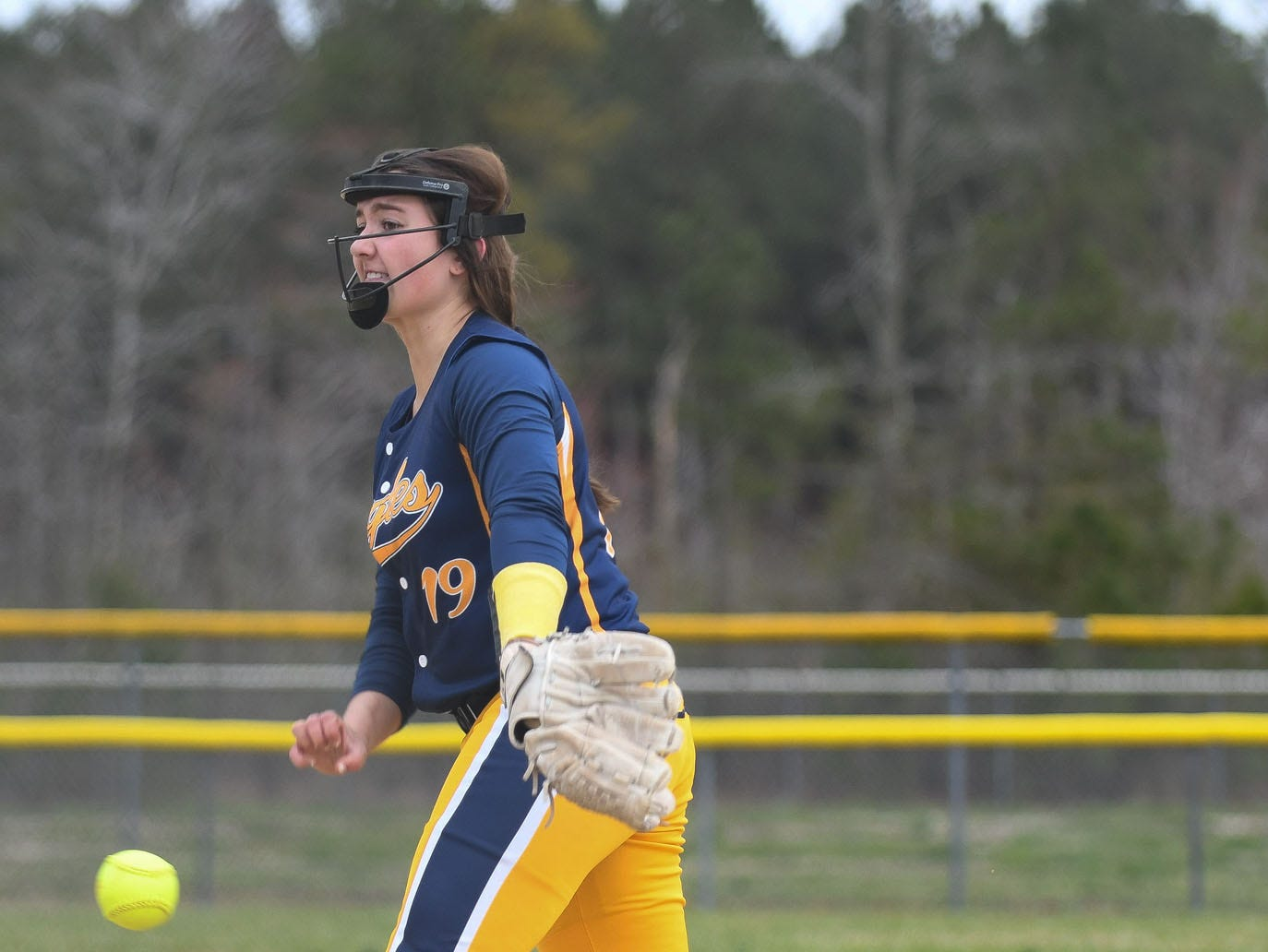 Holly Grove's Jenna Laird pitches against Chincoteague on Wednesday, March 20, 2019 in Westover, Md.