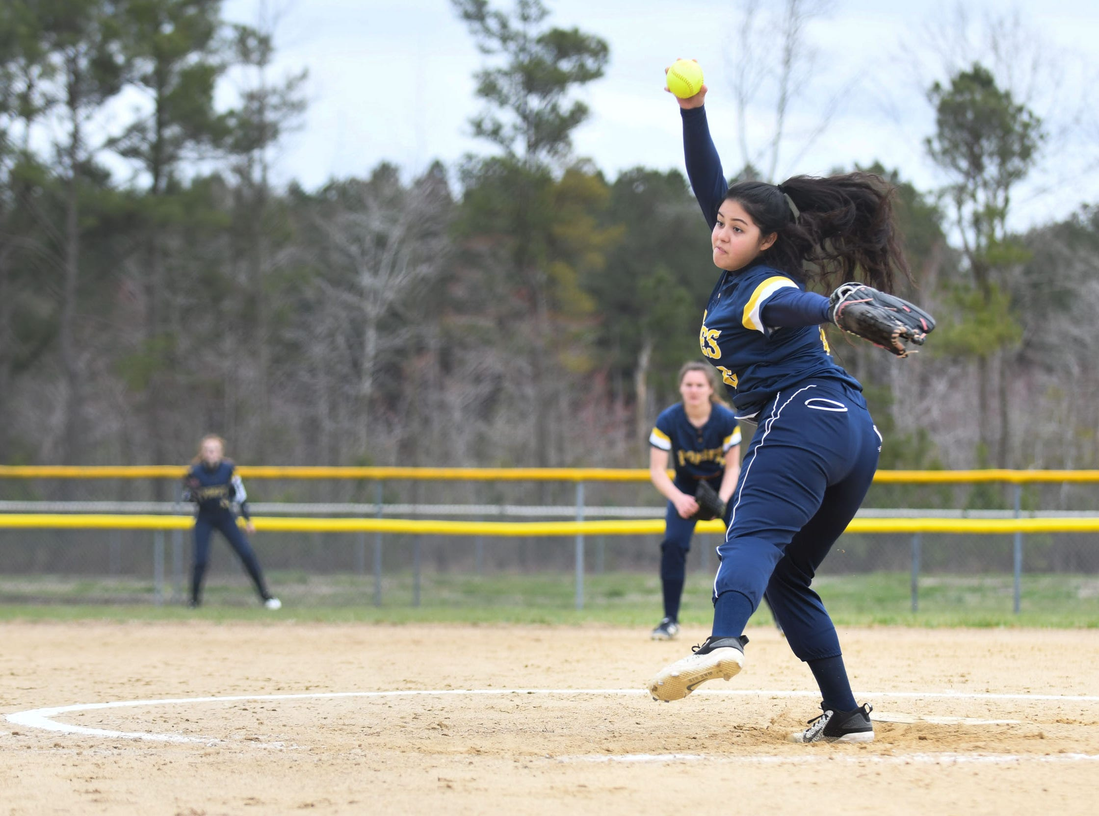 Chincoteague's Delilah Flores pitches against Holly Grove on Wednesday, March 20, 2019 in Westover, Md.