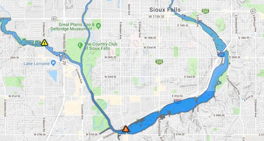 Areas that could be affected by flooding in Sioux Falls.