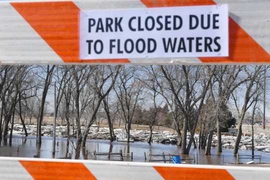 Yankton Trail Park is closed because of flood waters Thursday, March 21, at the park in Sioux Falls.