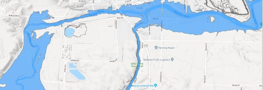 Areas that could be affected by flooding in south Dell Rapids.